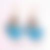 Boucles d'oreille bouteille bleue, bijou conte de fée