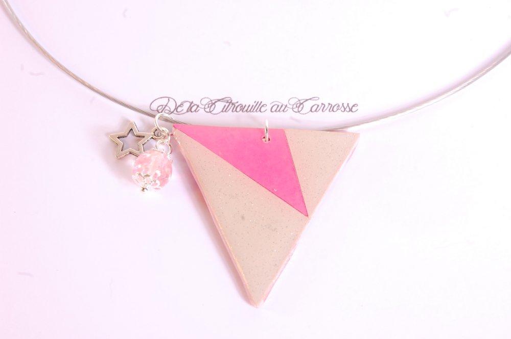Tour de cou triangle graphique rose et gris irisé