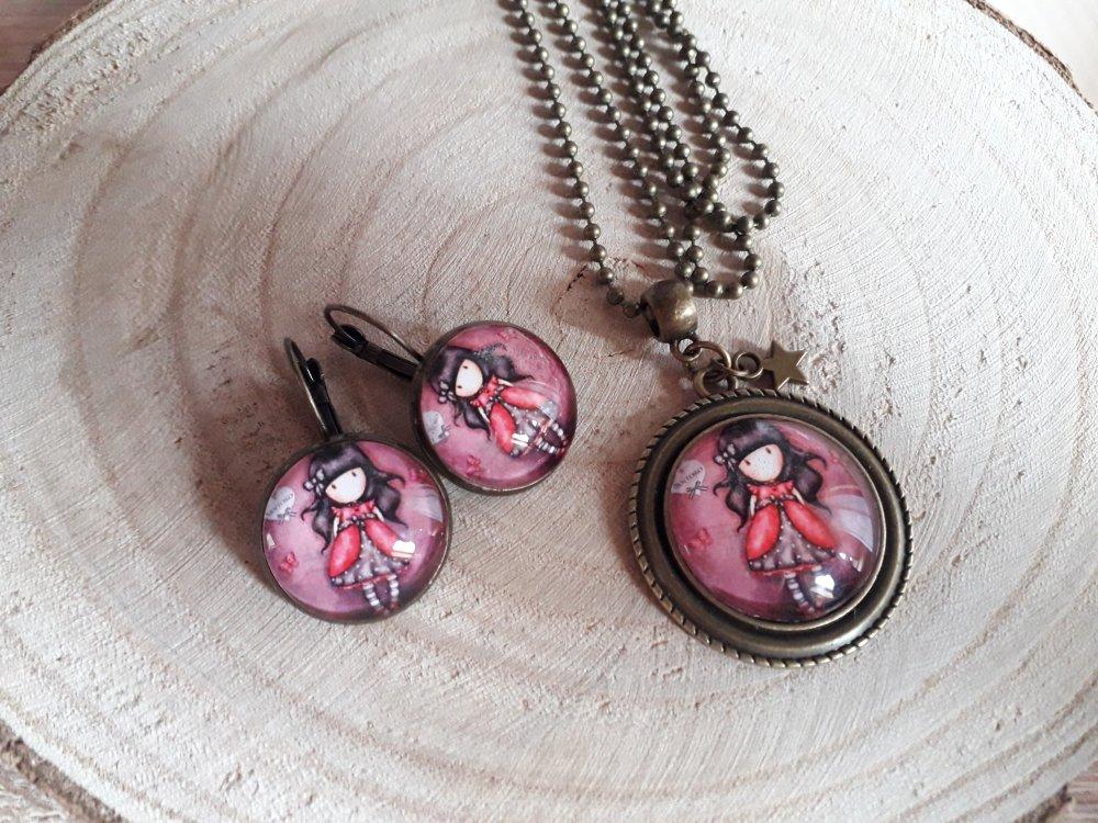 Ensemble parure collier + boucles d'oreilles cabochons thème petite fille bronze