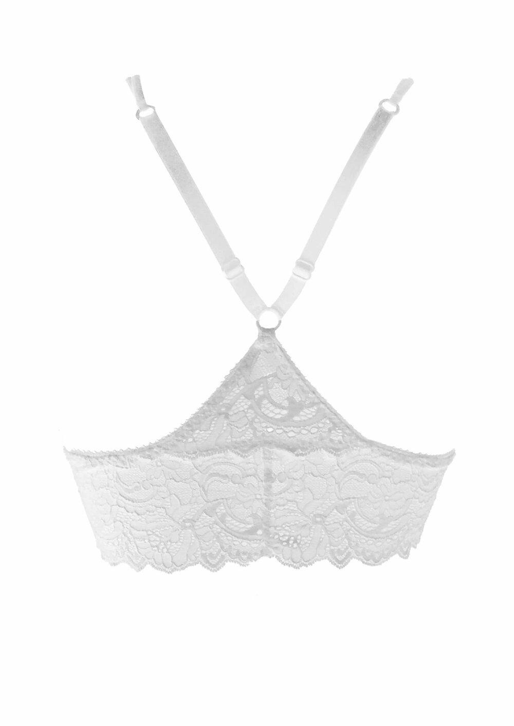 Brassière/soutien gorge triangle blanc en dentelle de calais et lycra nylon Anaelle