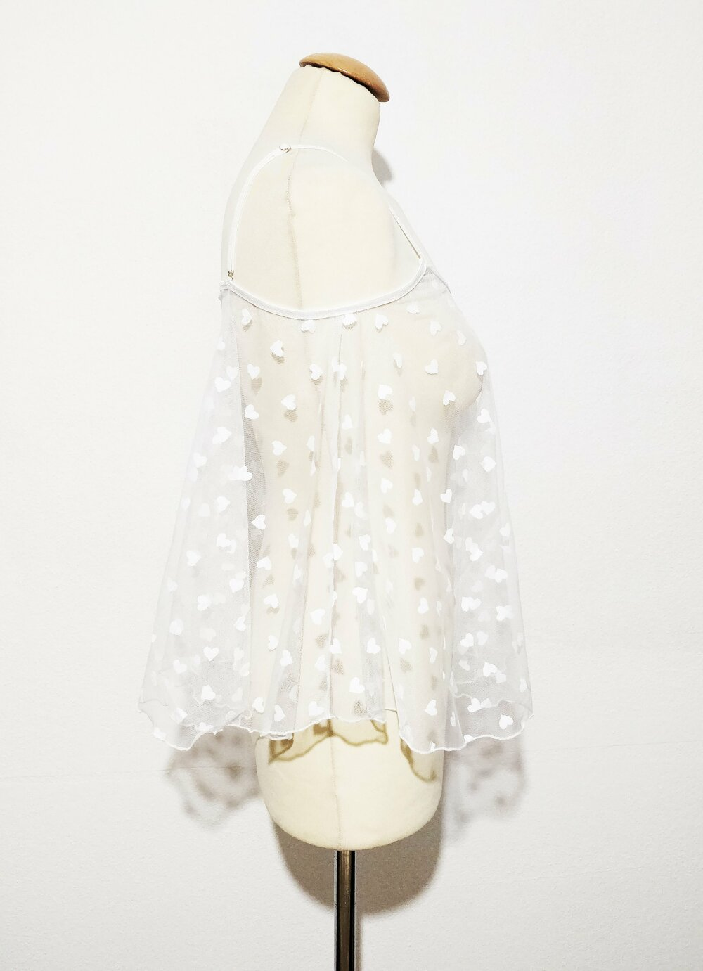 NOUVEAU Ensemble babydoll et culotte blanc transparent Little heart