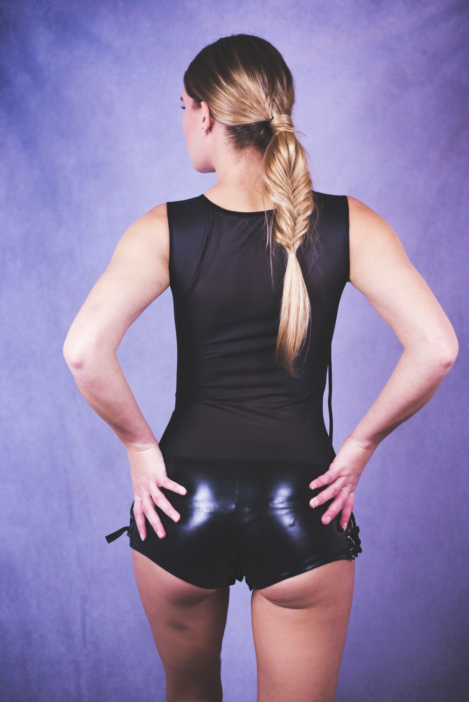 Body-Catsuit-combishort noir sexy simili cuir
