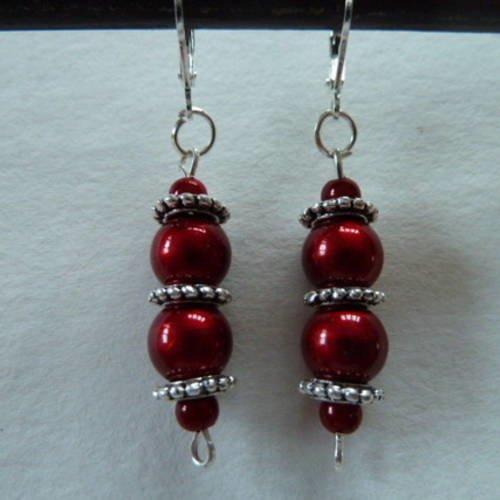 2bo- boucles d' oreilles perles rouges, perles intercalaires métal argenté style romantique, bohème, vintage