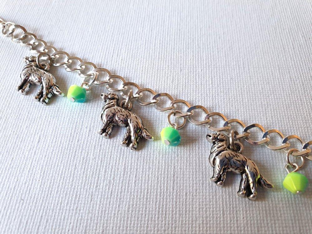 Bracelet gourmette chien métal argenté, perles toupies turquoise jaune