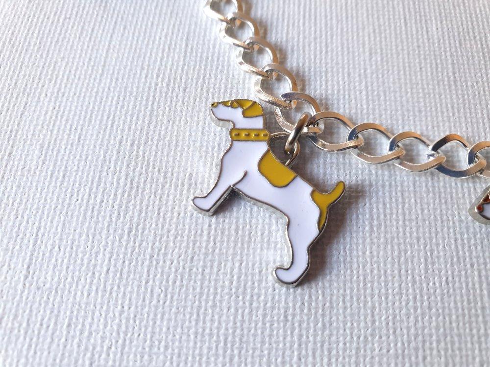 Bracelet gourmette petits chiens émaillés blanc, rouge, jaune, noir
