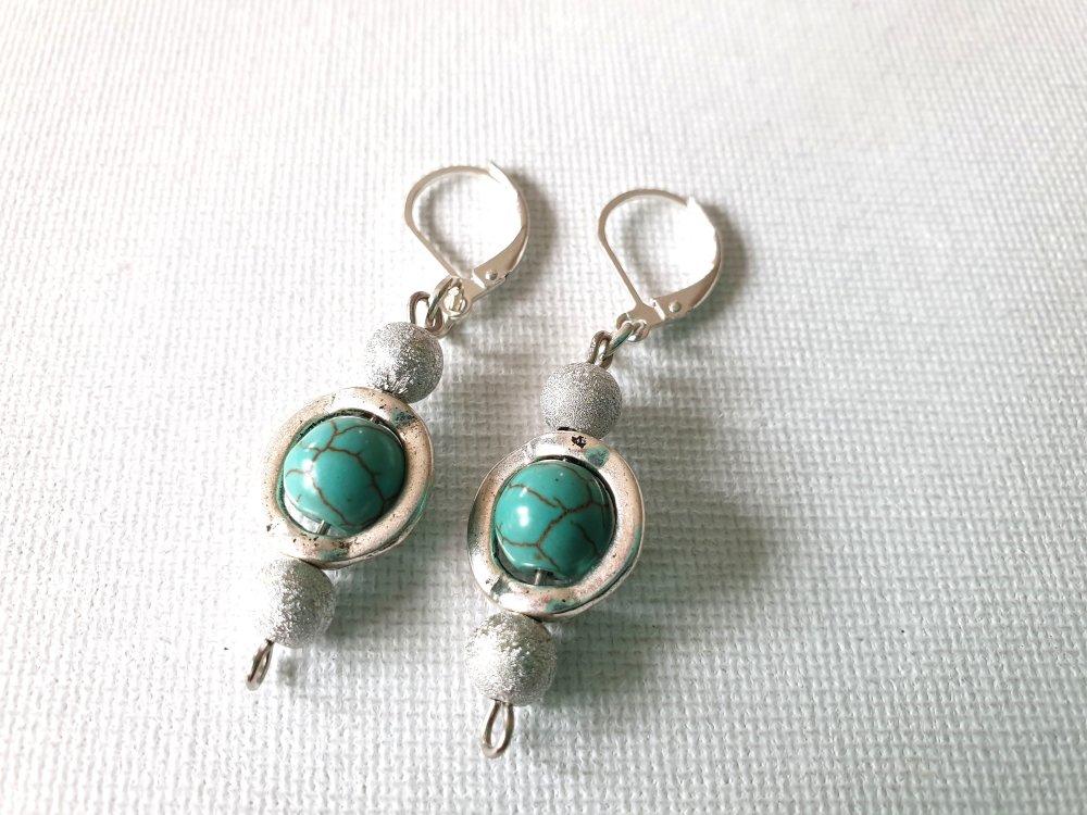 Boucles d'oreilles bleu turquoise dans cadre rond, perles granité argenté