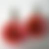 Boucles d'oreilles fleurs en relief, résine cristal, orange et rose