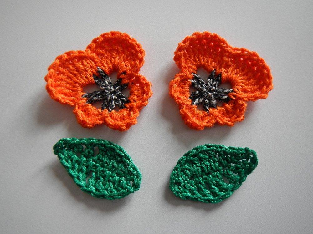 Lot de 2 fleurs et 2 feuilles, appliques au crochet