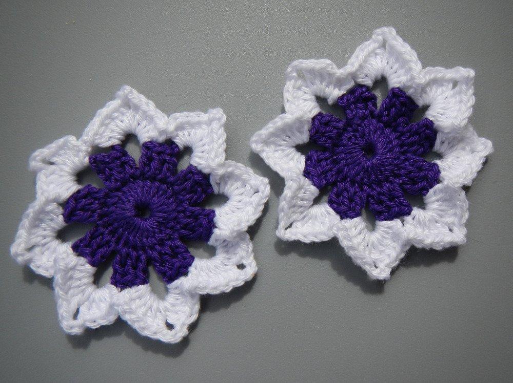 lot de 2 fleurs, appliques au crochet