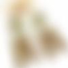 Boucles d'oreilles longues demi-cercle vert kaki et blanc à motif ginkgo en pâte polymère résinées