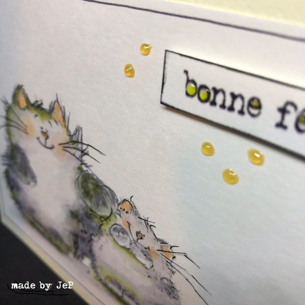 """carte aquarelle deux petits chats """"bonne fête maman"""""""