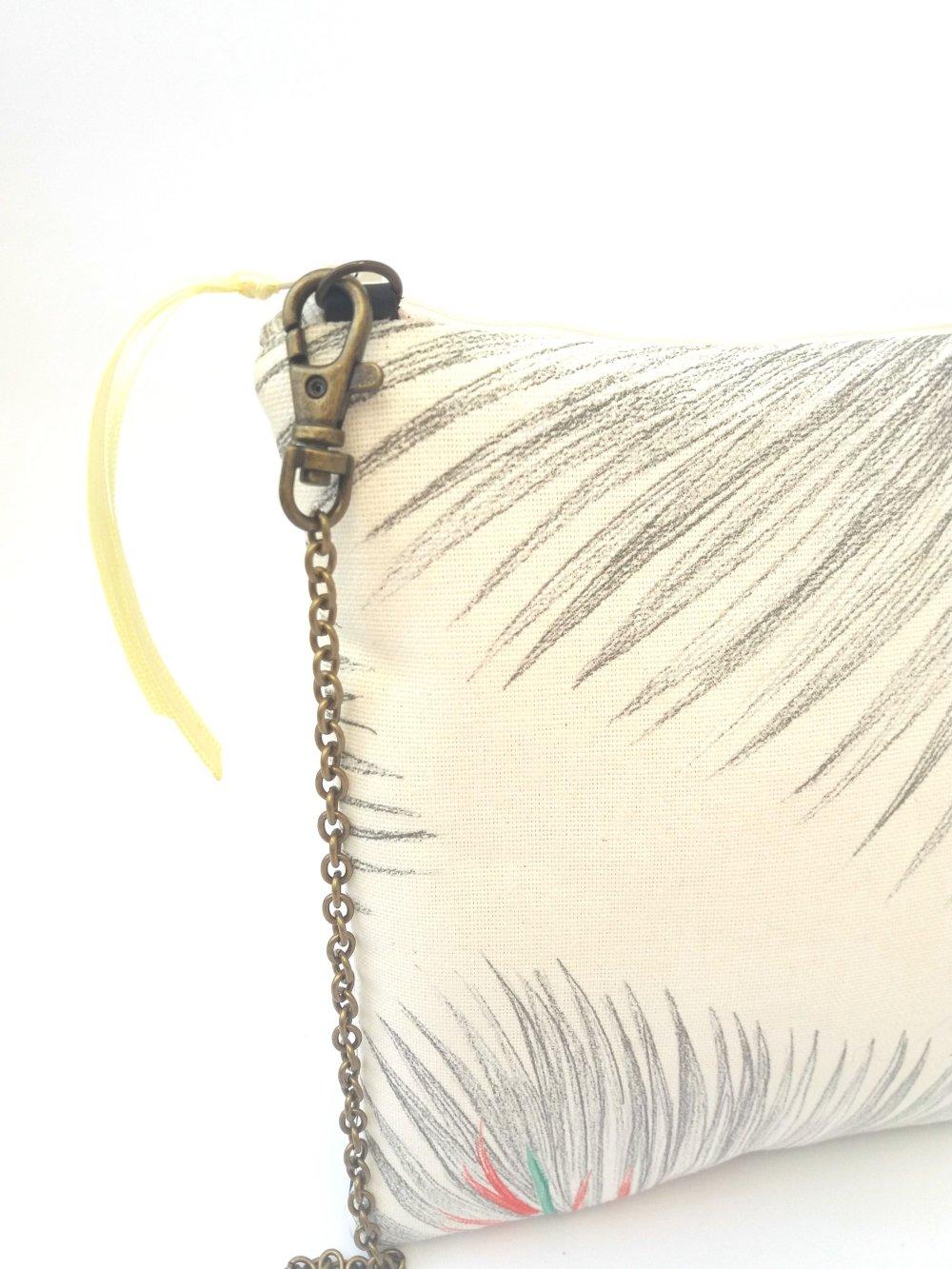 """Sac à main bandoulière , pochette en cuir marron et tissu à motifs palmiers colorés """"CARRE PALMY"""""""