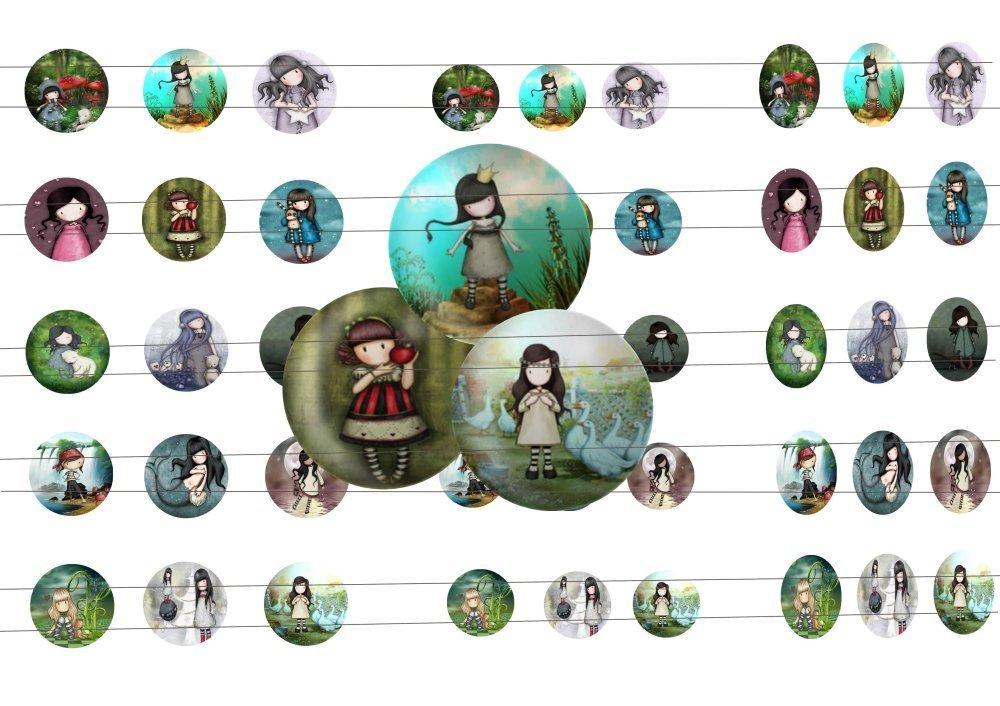 45 images digitale Gorjuss 06, pour cabochons 20mm, 25mm, 18x25mm