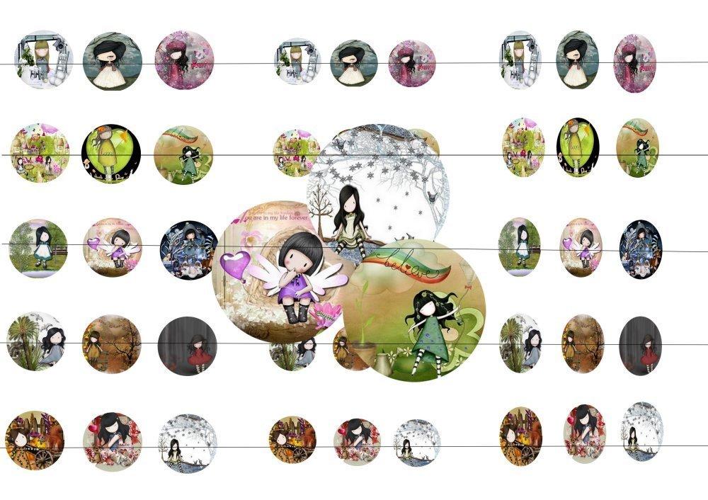 45 images digitale Gorjuss 19, pour cabochons 20mm, 25mm, 18x25mm