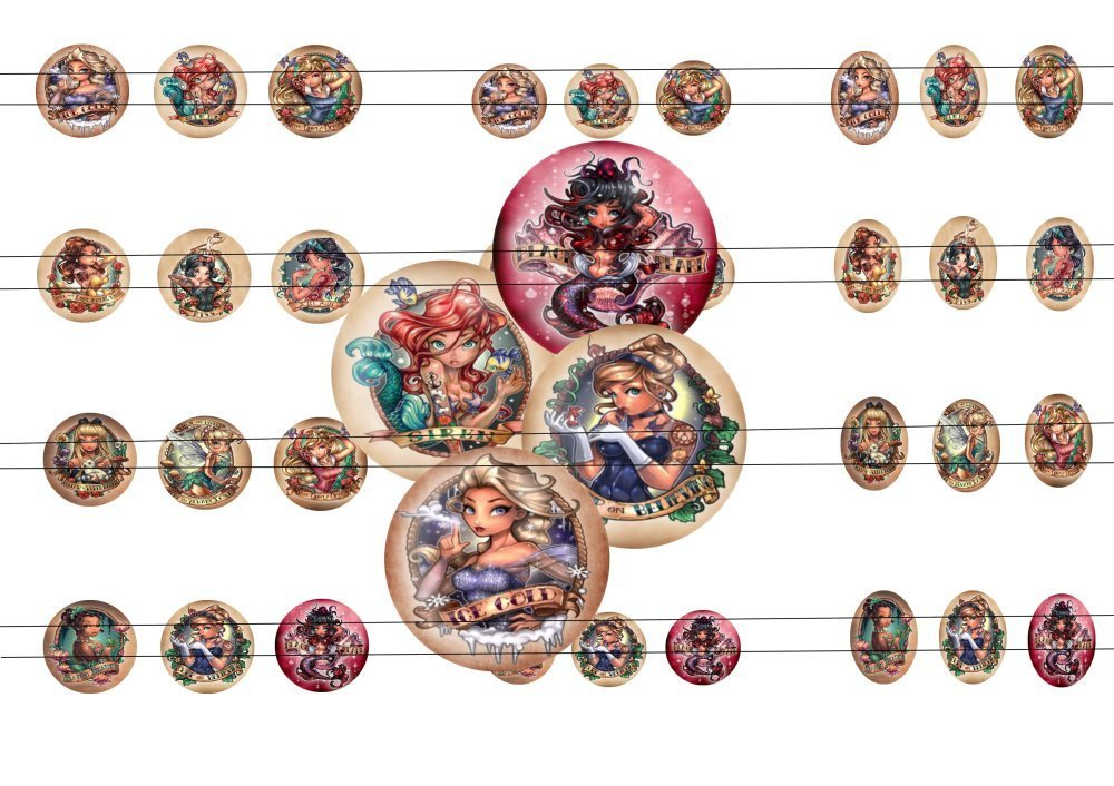 45 images digitale disney princesses Ultimate, pour cabochons 20mm, 25mm, 18x25mm