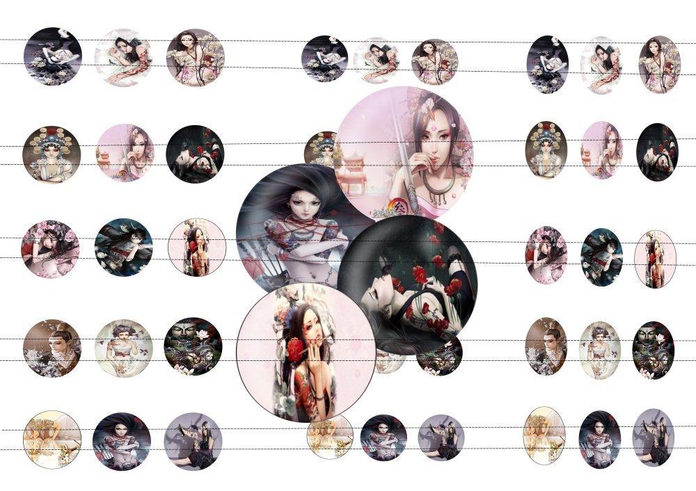 45 images digitale japonaise tatoo 2, pour cabochons 20mm, 25mm, 18x25mm