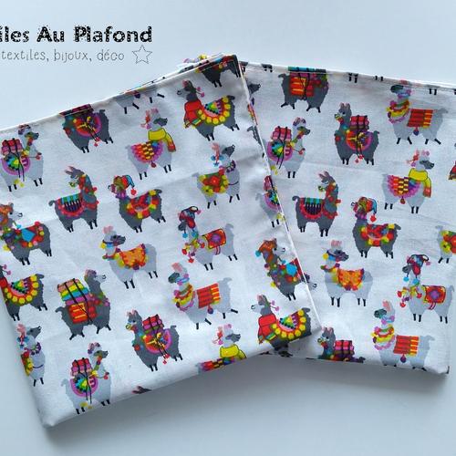 Lot de 2 serviettes de table en coton 40x40 cm motif lamas