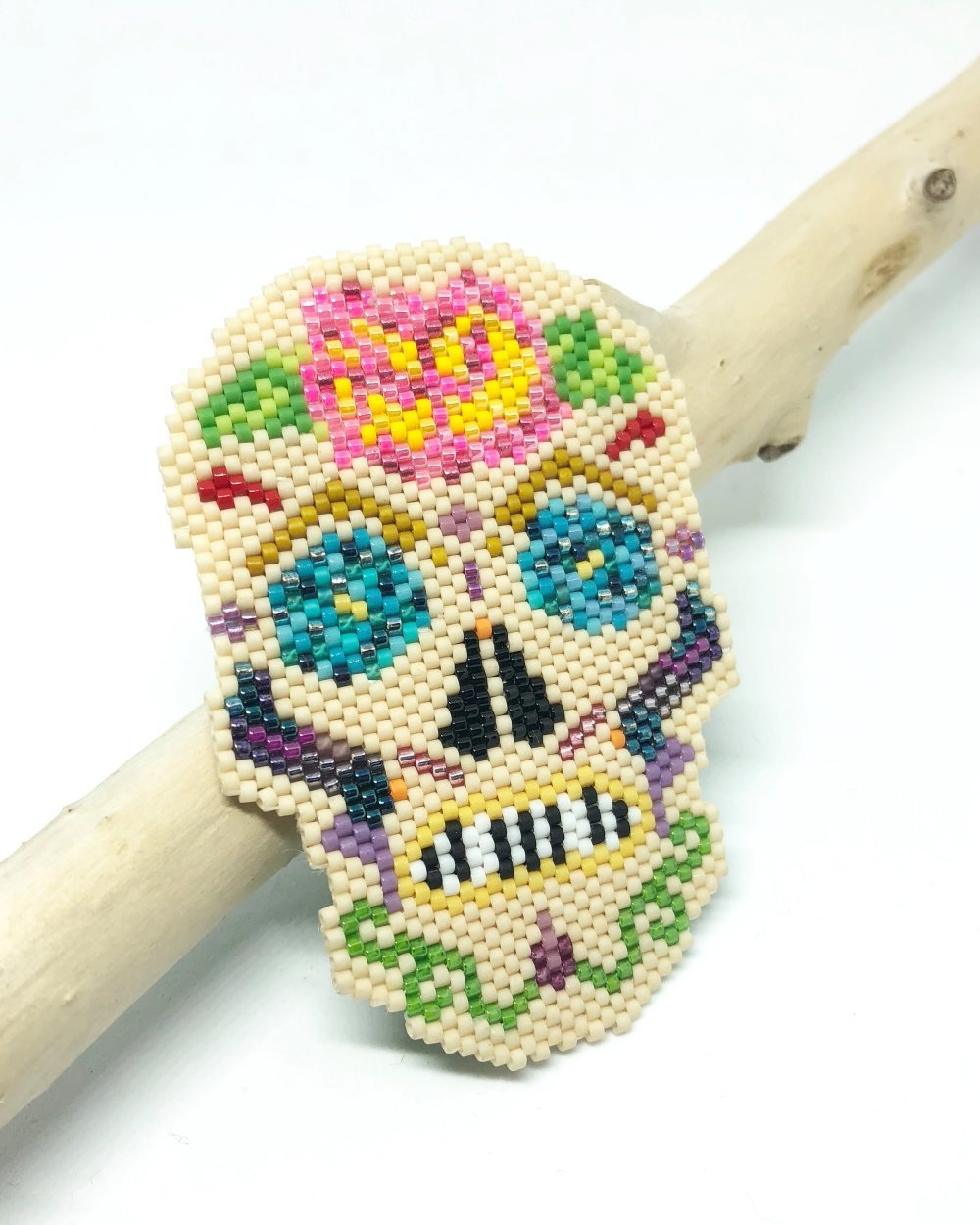 Broche Tête de Mort mexicaine - Multicolore