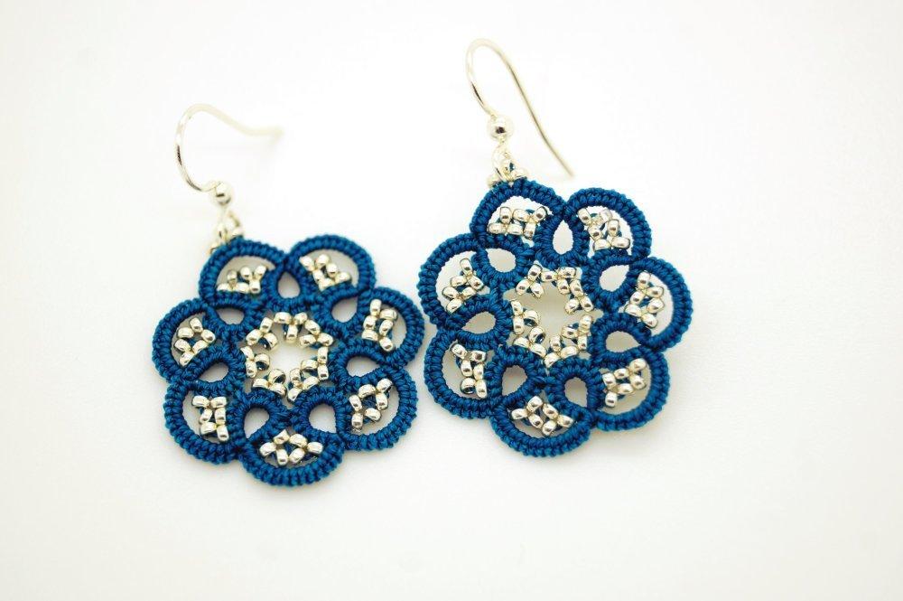 Boucles d'oreilles médaillon bleu