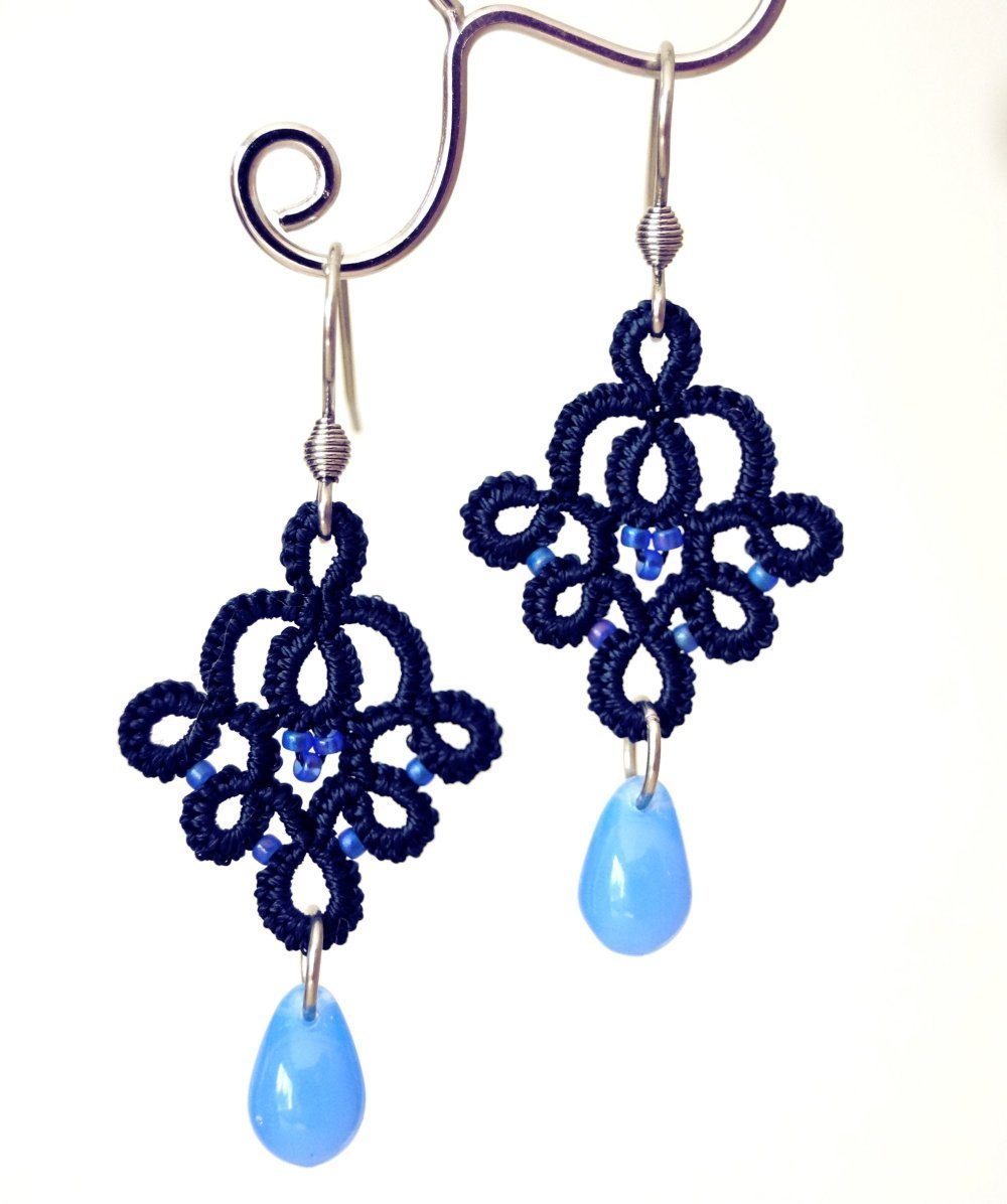 Boucles d'oreilles bleu marine et bleu en dentelle