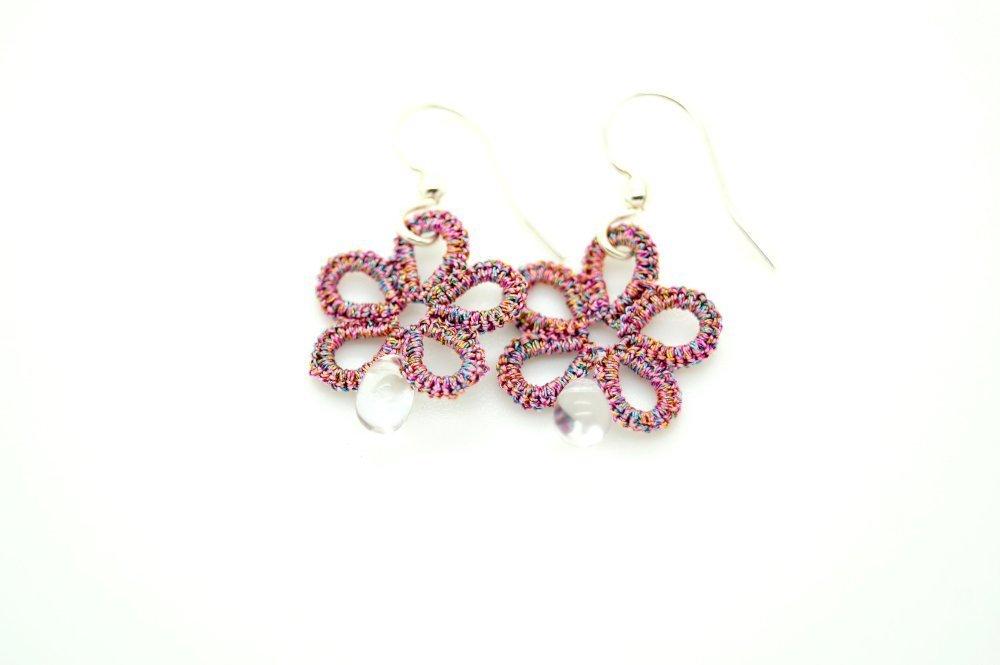 Boucles d'oreilles fleurs rose métallisé