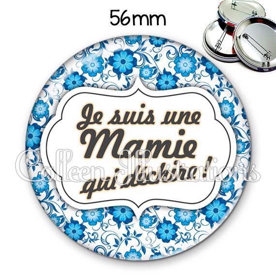Badge 56mm Maman qui déchire 006BLE02