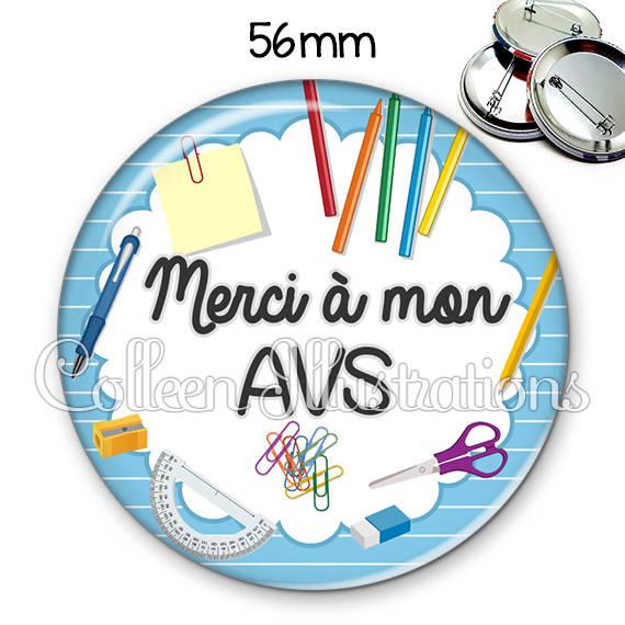 Badge 56mm Merci AVS 009BLE01
