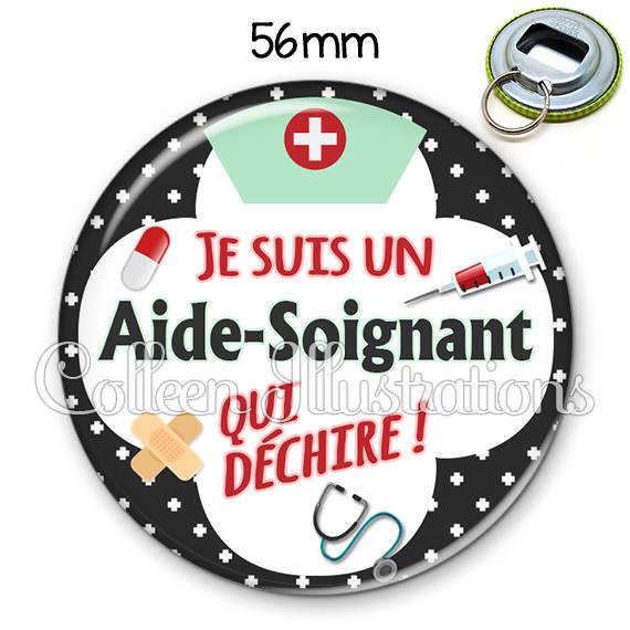 Décapsuleur porte-clés 56mm Aide-soignant qui déchire 002NOI01