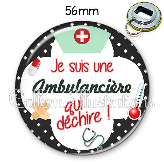 Décapsuleur porte-clés 56mm Ambulancière qui déchire 002NOI01