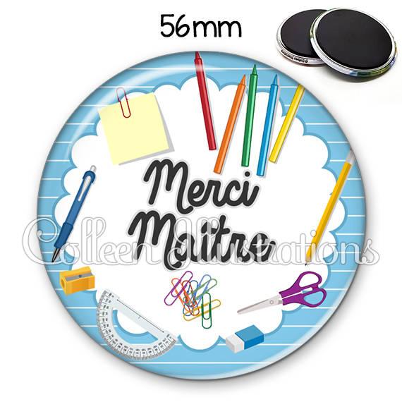 Magnet 56mm Merci Maître 009BLE01