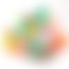 Lot 10 perles rondes strass de 10 mm couleurs variées