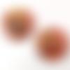 Superbe lot 2 pendentifs verre millefiori 25 mm rouge-or