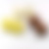Lot 6 perles rondes céramique artisanale blanc-jaune-chocolat