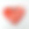 Pendentif céramique artisanale coeur-papillon rouge 48 mm
