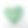 Pendentif céramique artisanale coeur-papillon vert  48 mm