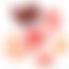 Lot de perles cristal, facettes de bohème identique à la photo rouge-orange