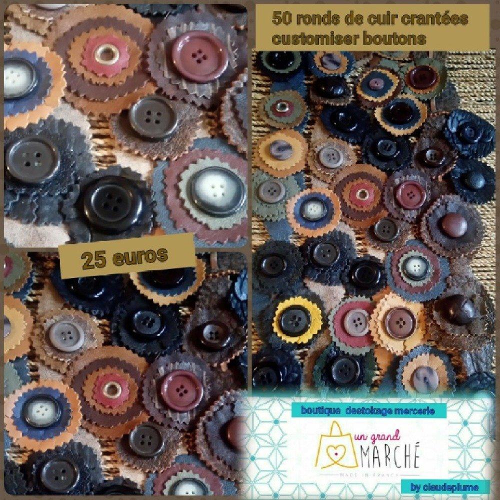 Lot de 50 ronds de cuir boutons