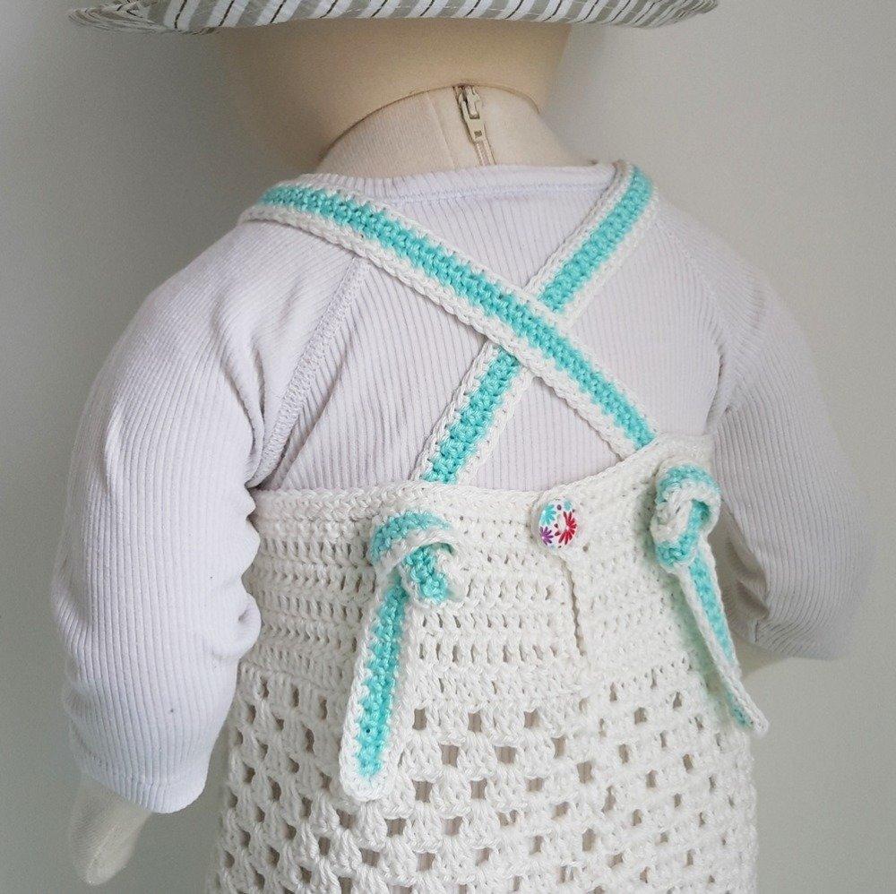 Patron De Crochet Vêtement Bébé Fille Robe Bretelles Croisées Dos 15