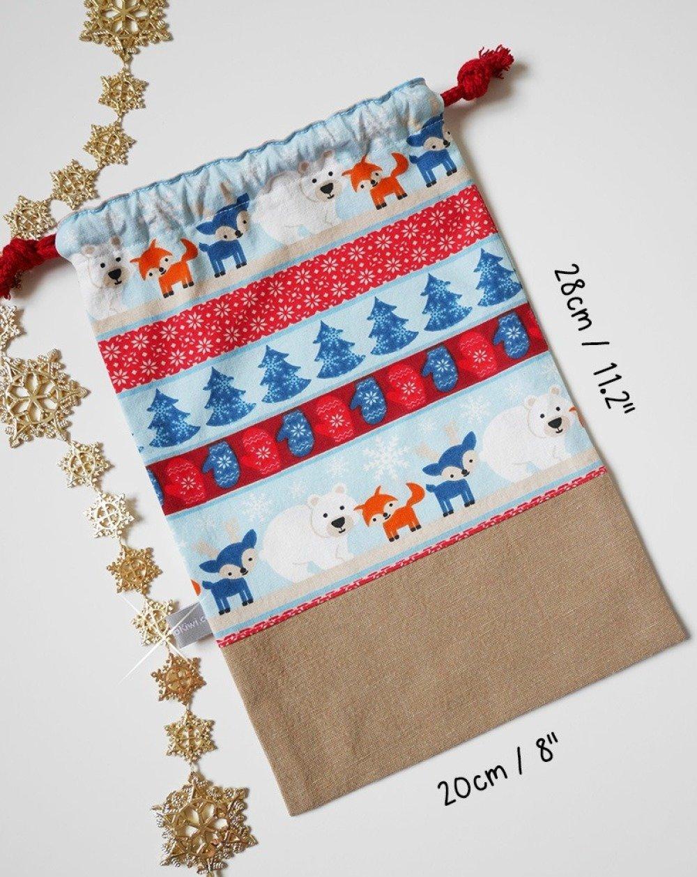 Sac de Noël personnalisable - Animaux Hiver