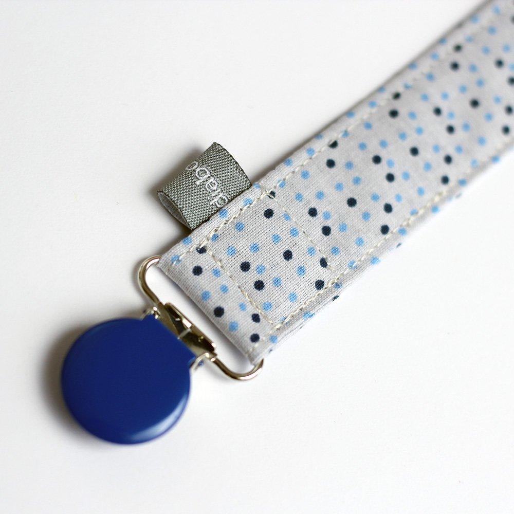Attache sucette - Pois - gris - bleu