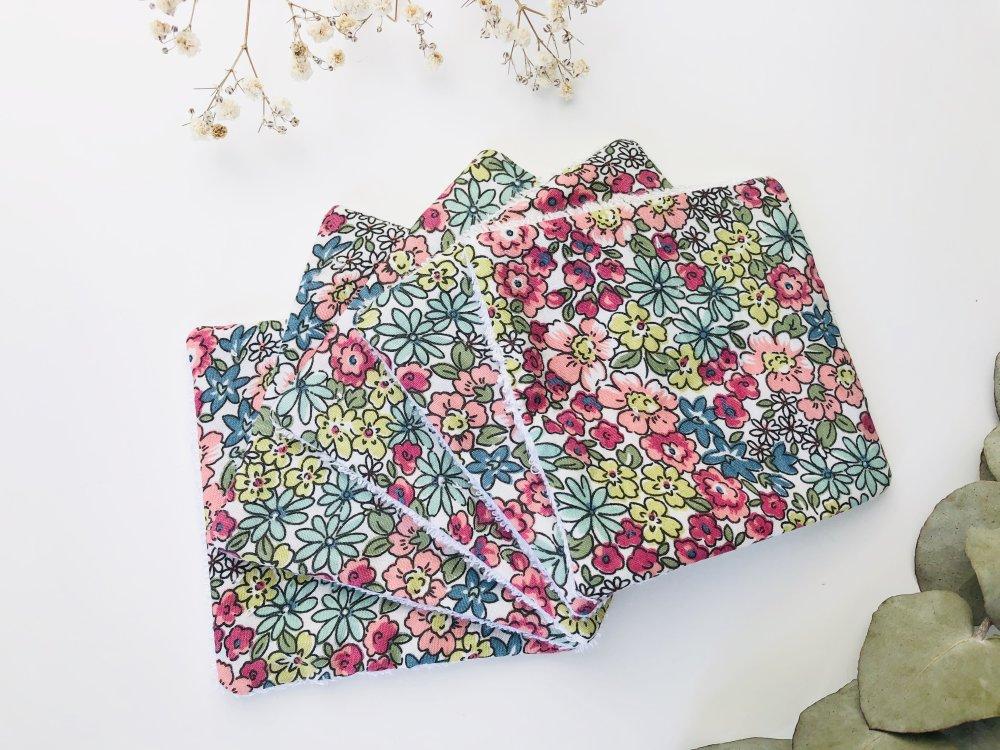 Lingettes lavables mille fleurs multicolores