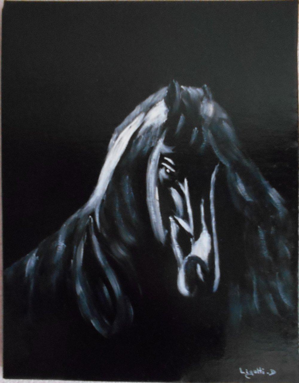 Tableau peinture à l'huile cheval
