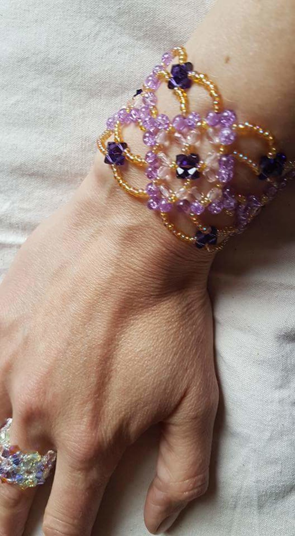 Bracelet perles rocailles et swarovski fait main