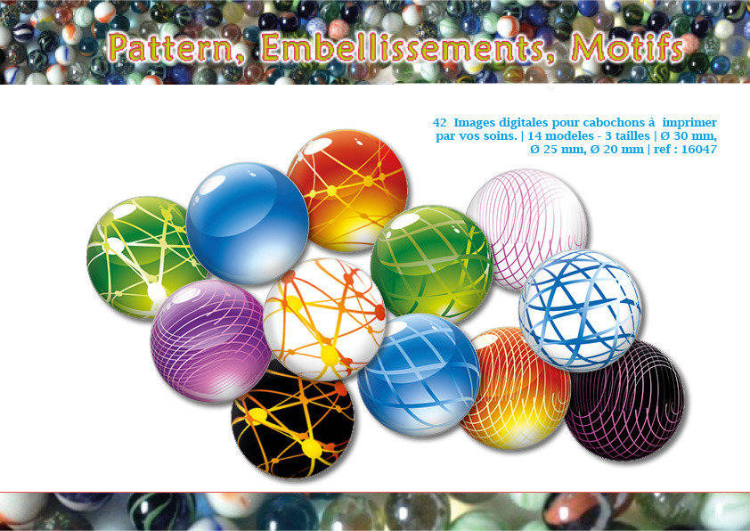 Billes | Pattern, embellissement, motifs | Ø 30, 25, 20mm | 42 images digitales | Planche d'images pour cabochon | 16047