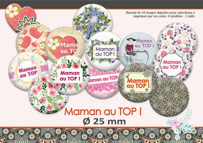 Maman au Top !!! | Ø25mm | Images digitales pour cabochon | 1750-25