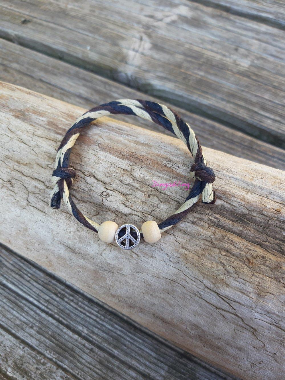 """Bracelet Homme en corde 3 couleurs """"Peace & Love"""""""