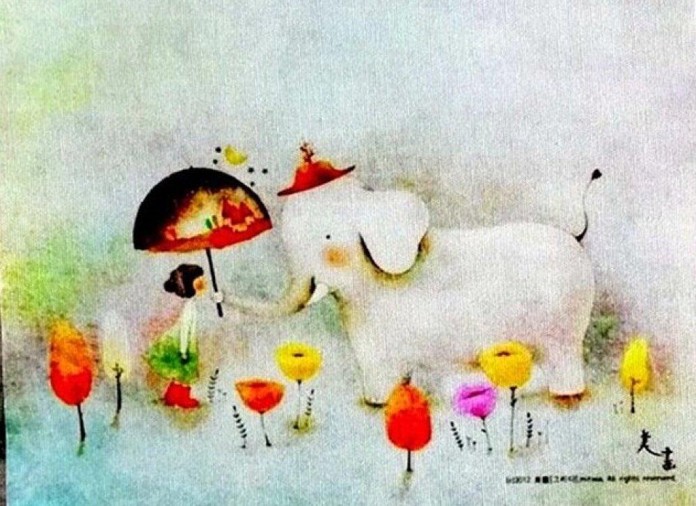 Tissu lin enfant fille, animaux éléphant  -  Ref 239