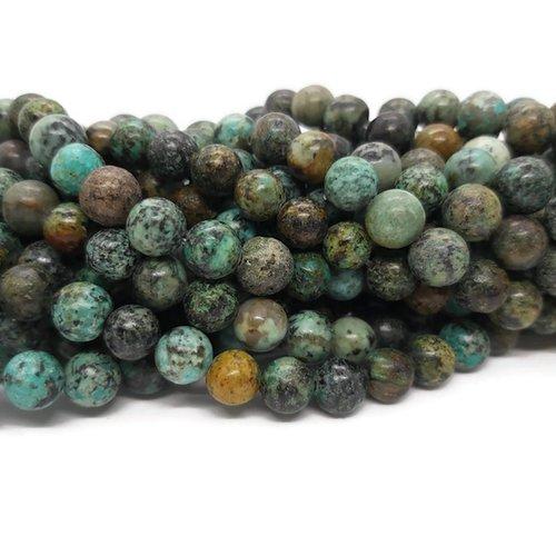 Turquoise africaine - perles rondes de 8 mm - fil de 38 cm - pierre naturelle
