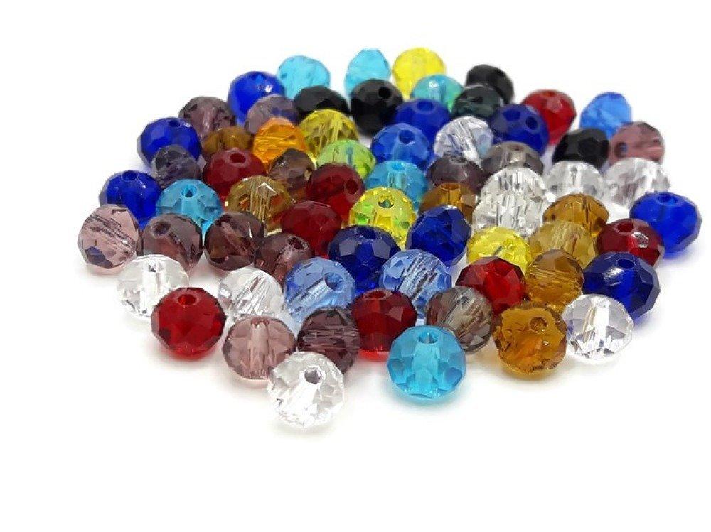 Perles en verre a facettes - lot de 200 perles - Perles verre toupie 6 mm couleurs - A302