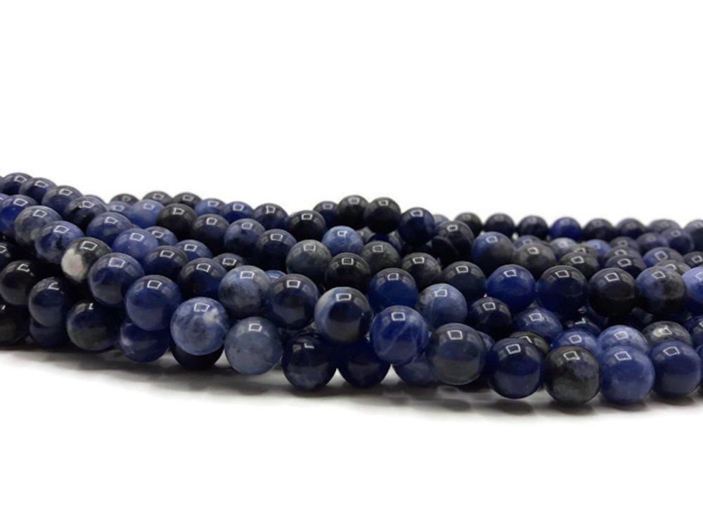23 Perles Sodalite naturelle 8 mm - Perles naturelles bleues - Pierre de gemme- Pierre semi précieuse- A204